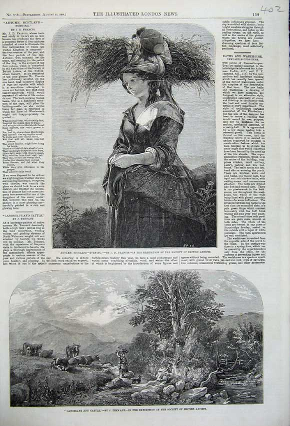 Print 1859 Autumn Scotland Woman Hat Landscape Cattle Trees 402N108 Old Original