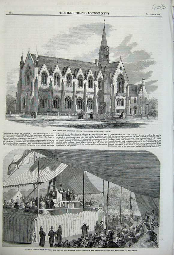 Print 1859 Leeds Grammar School Training College Stockwell 403N108 Old Original