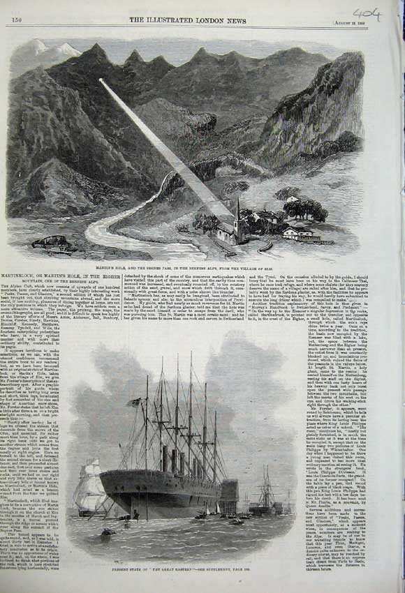 Print 1859 Great Eastern Ship Martin'S Hole Bernese Alps Elm 404N108 Old Original