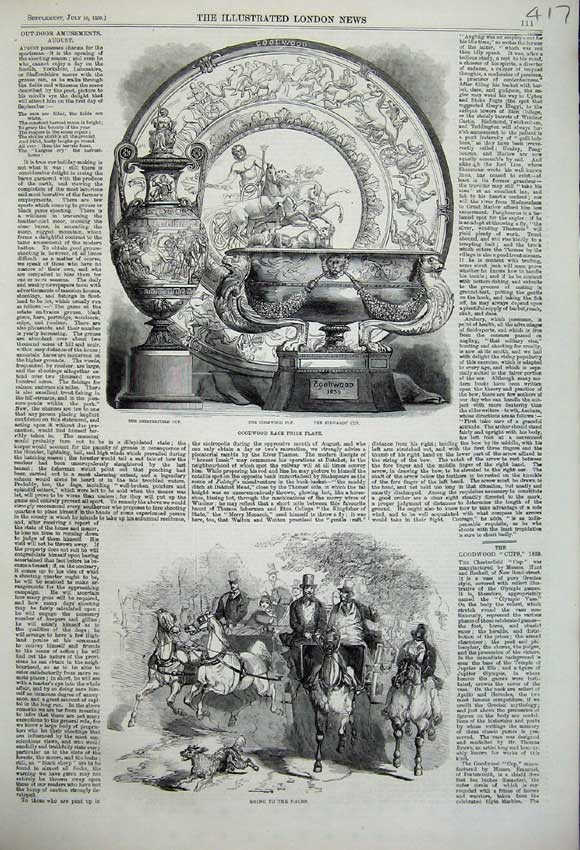Print 1859 Goodwood Race Prize Plate Races Horse Sport Dog 417N108 Old Original
