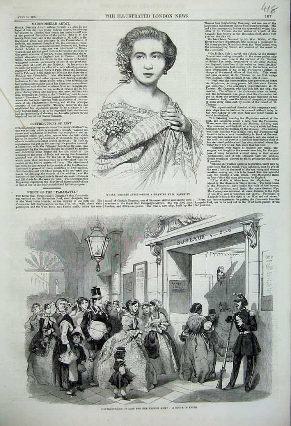Print Desiree Artot 1859 Gathering Lint French Army War 418N108 Old Original