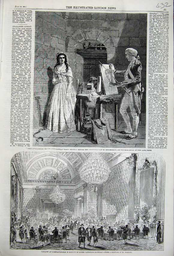Print 1859 Banquet Constantinople Queen Victoria Corday Art 432N108 Old Original