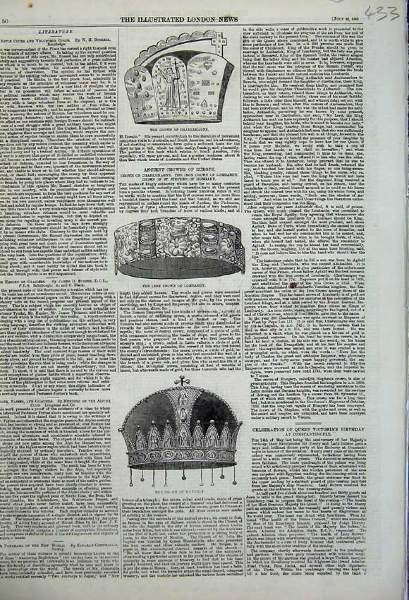 Print 1859 Crown Hungary Iron Lombardy Charlemagne 433N108 Old Original