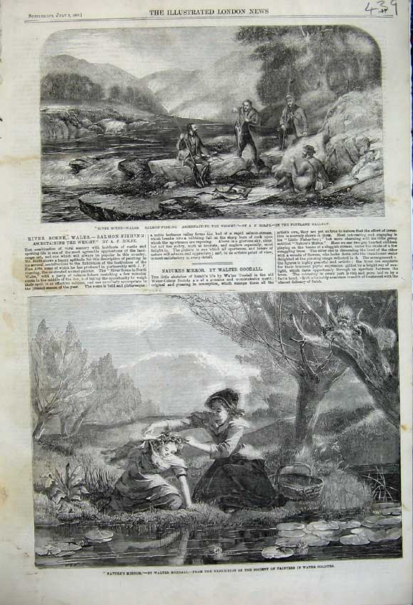 Print 1859 Mother Child River Wales Salmon Fishing Men Trees 439N108 Old Original