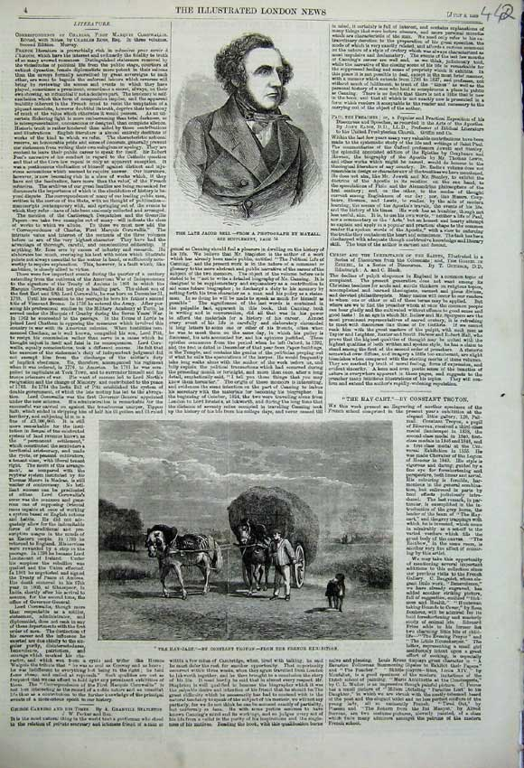 Print 1859 Portrait Jacob Bell Hay Cart Farming Horse France 442N108 Old Original
