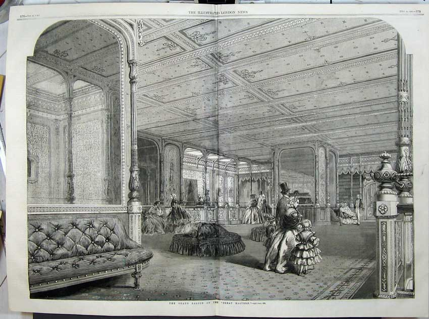 Print 1859 Interior Grand Saloon Great Eastern Steam Ship War 512Tn108 Old Original