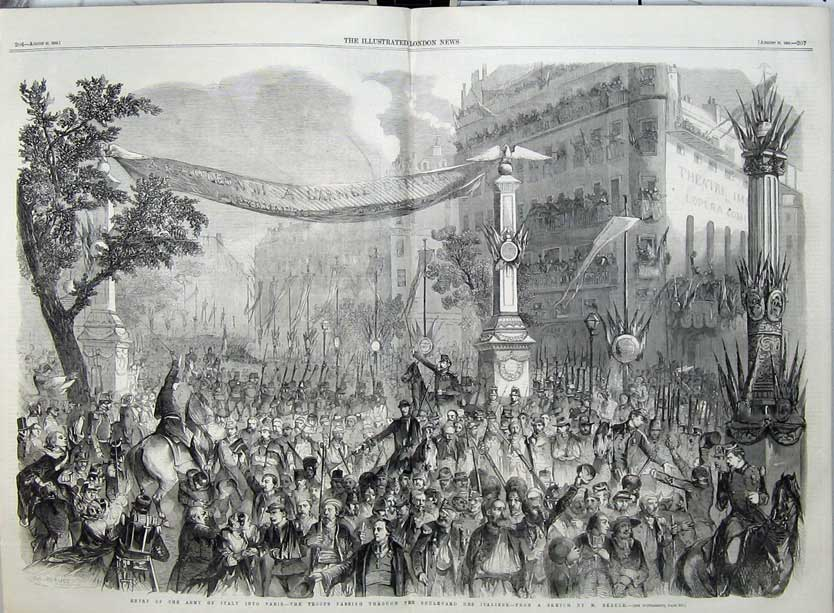 Print Army Italy Paris Troops Boulevard Des Italiens War 1859 516Tn108 Old Original