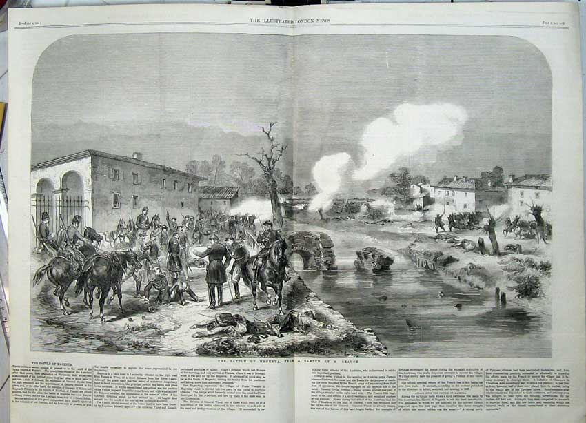 Print 1859 Battle Magenta War Army Horses Soldiers River 520Tn108 Old Original