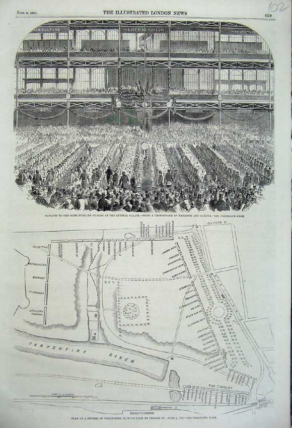Print Banquet Scots Guards Crystal Palace 1860 Plan Hyde Park 102N109 Old Original
