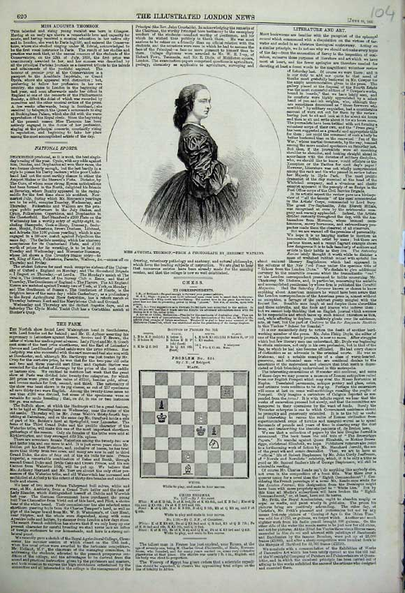 Print 1860 Portrait Miss Augusta Thomson Chess Board Game 104N109 Old Original
