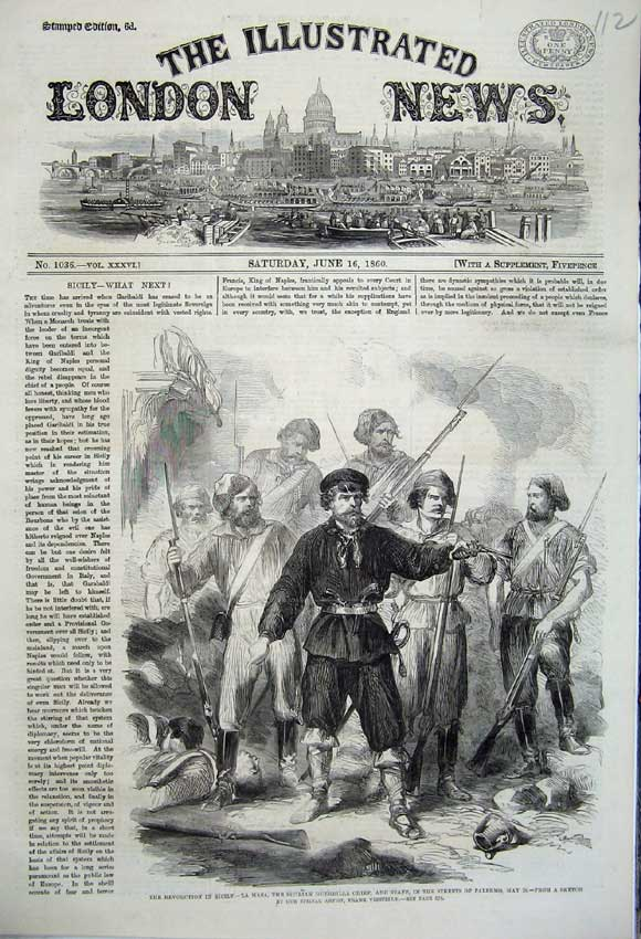 Print 1860 Revolution Sicily Masa Guerrilla Chief Palmero War Old Original