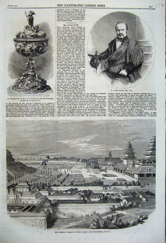 Print 1860 Imperial Palace Jeddo Japan Macgowan Cup Watts 116N109 Old Original
