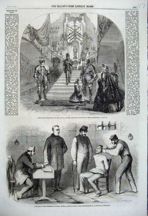Print Staircase Royal Institution 1860 Torture Prison Sicily 117N109 Old Original