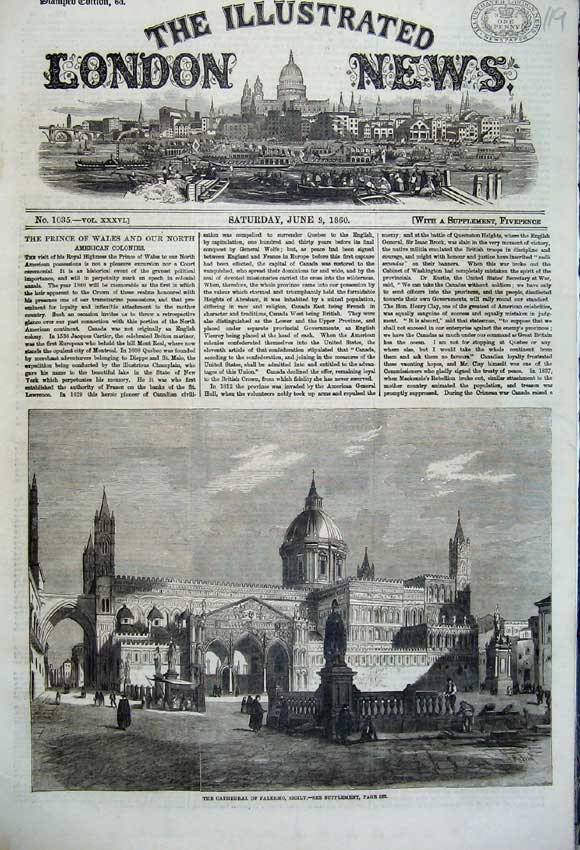 Print 1860 Exterior View Cathedral Palermo Sicily Church 119N109 Old Original