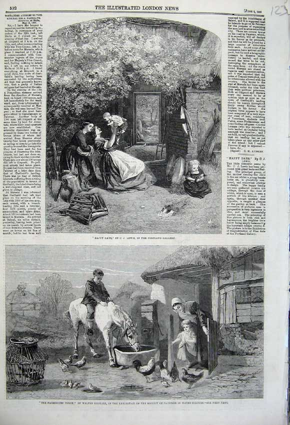 Print 1860 Farmhouse Porch Horse Chickens Children Family 123N109 Old Original