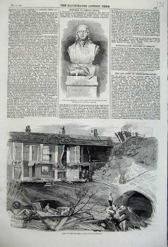 Print 1860 Cottage Fall Sand Cave Reigate Bust Admiral Blake 131N109 Old Original