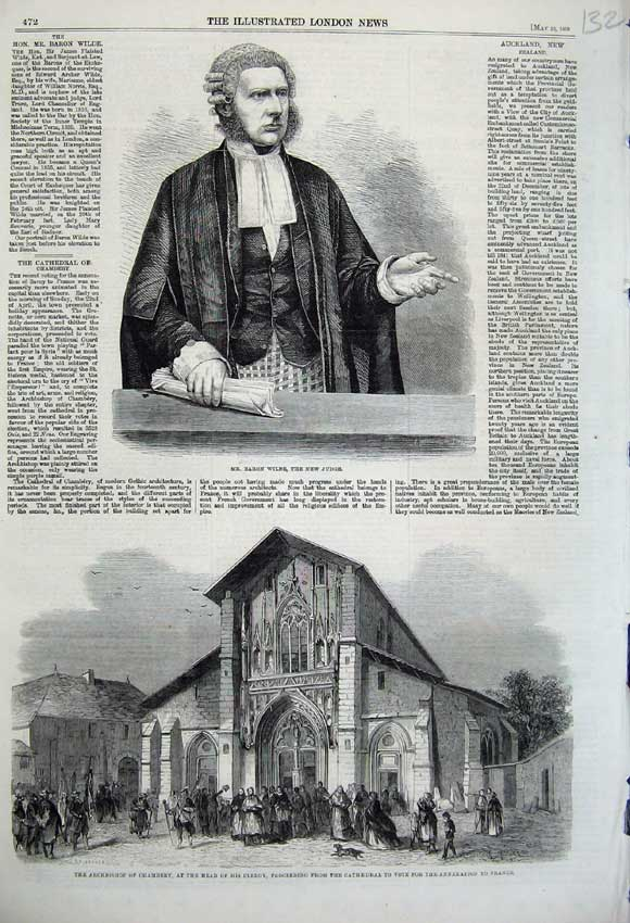 Print 1860 Baron Wilde Judge Archbishop Chambery Cathedral 132N109 Old Original