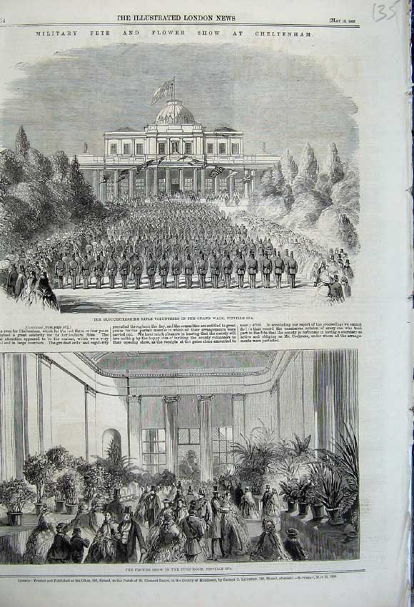 Print 1860 Flower Show Pitville Spa Gloucestershire Rifle War 135N109 Old Original