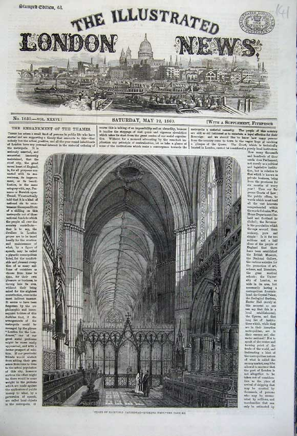 Print 1860 Interior Choir Lichfield Cathedral Church Priest 141N109 Old Original