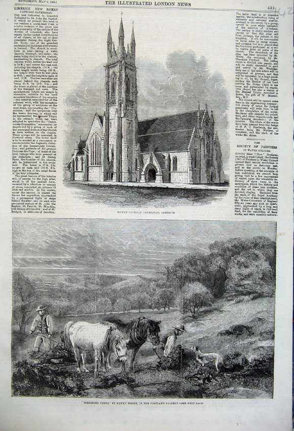 Print 1860 Sleighing Ferns Horses Catholic Cathedral Limerick 142N109 Old Original