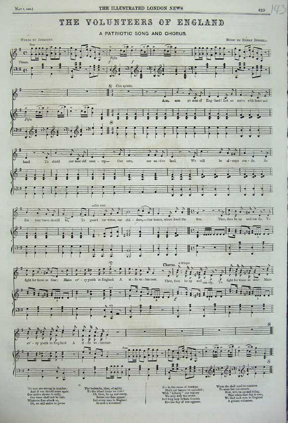 Print 1860 Music Words Volunteers England Patriotic Song 143N109 Old Original