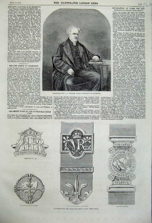 Print 1860 Portrait Rev. Wigram Ornaments Robin Hood Rifle 160N109 Old Original
