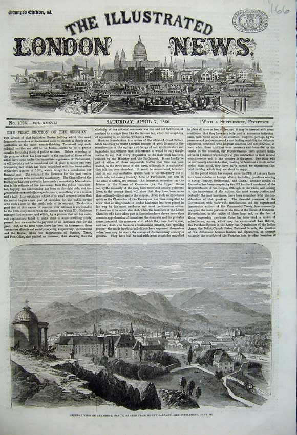 Print 1860 View Chambery Mount Calvary Mountains Houses 166N109 Old Original