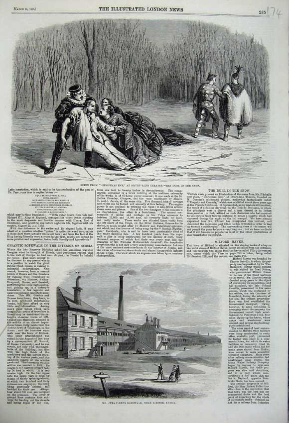Print 1860 Christmas Eve Theatre Drury Juravleff Ropewalk 174N109 Old Original