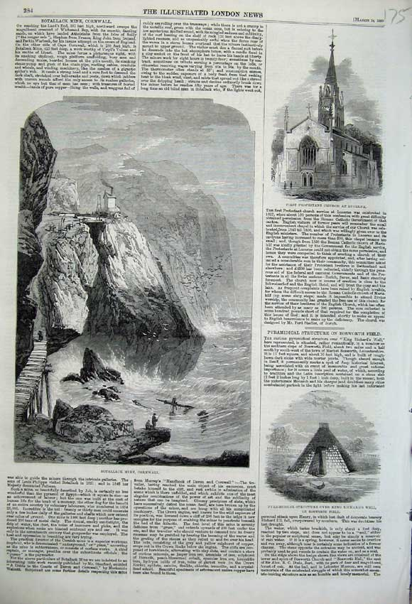 Print 1860 Botallack Mine Cornwall Church King Richards Well 175N109 Old Original