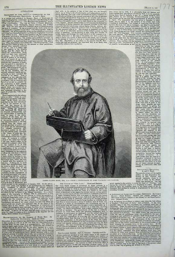 Print 1860 Portrait James Clarke Hook Photograph John Watkins 177N109 Old Original