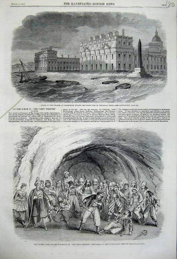 Print 1860 Cavern Forty Thieves Lyceum Theatre Greenwich 180N109 Old Original