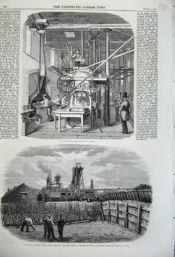 Print 1860 Dauglish Bread Making Machine Burradon Colliery 181N109 Old Original