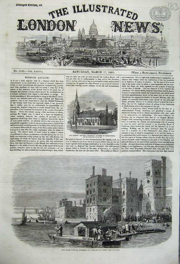 Print 1860 High Tide Lambeth Boats Church Prahran Melbourne 183N109 Old Original