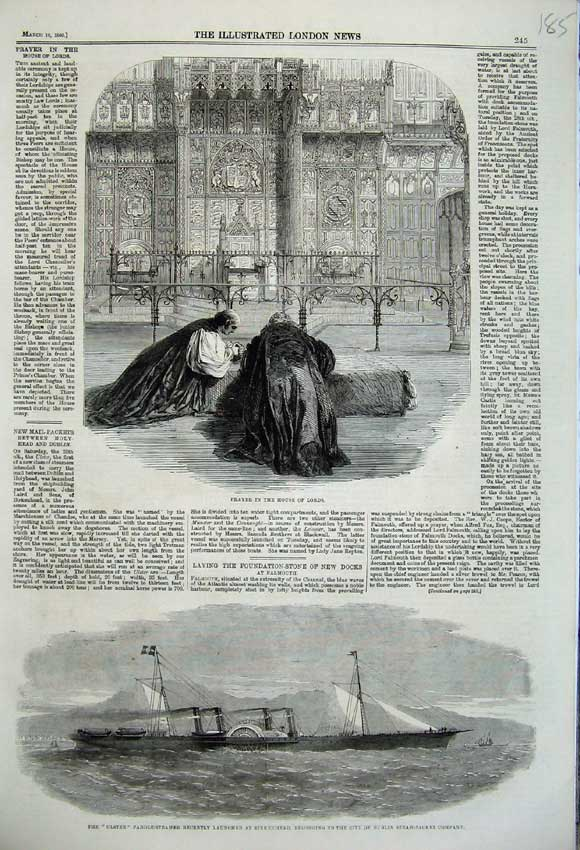 Print Prayer House Lords 1860 Ulster Paddle Steamer Ship 185N109 Old Original