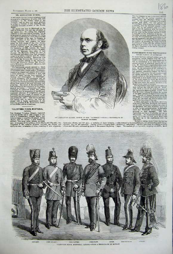 Print 1860 Alexander Russel Scotsman Volunteer Force Canada 186N109 Old Original
