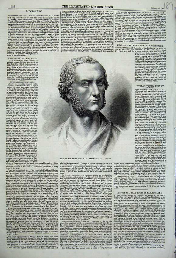 Print 1860 Bust Right Honourable Gladstone Man Munro 189N109 Old Original