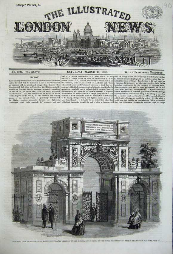 Print Memorial Arch Brompton Barracks Chatham 1860 War 190N109 Old Original