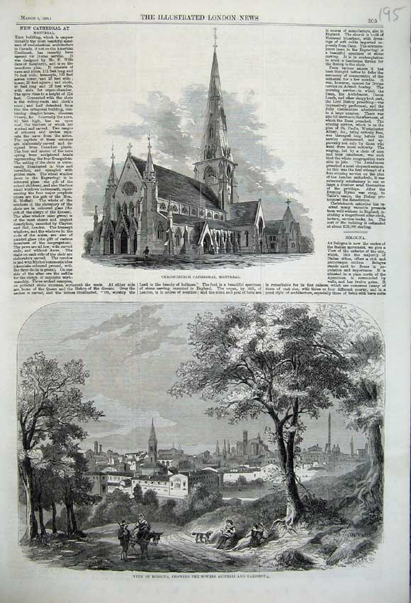 Print Christchurch Cathedral Montreal Bologna Asinelli 1860 195N109 Old Original