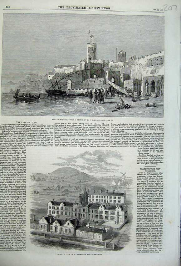 Print Port Tangier 1860 Birdseye View Scarborough Workhouse 207N109 Old Original