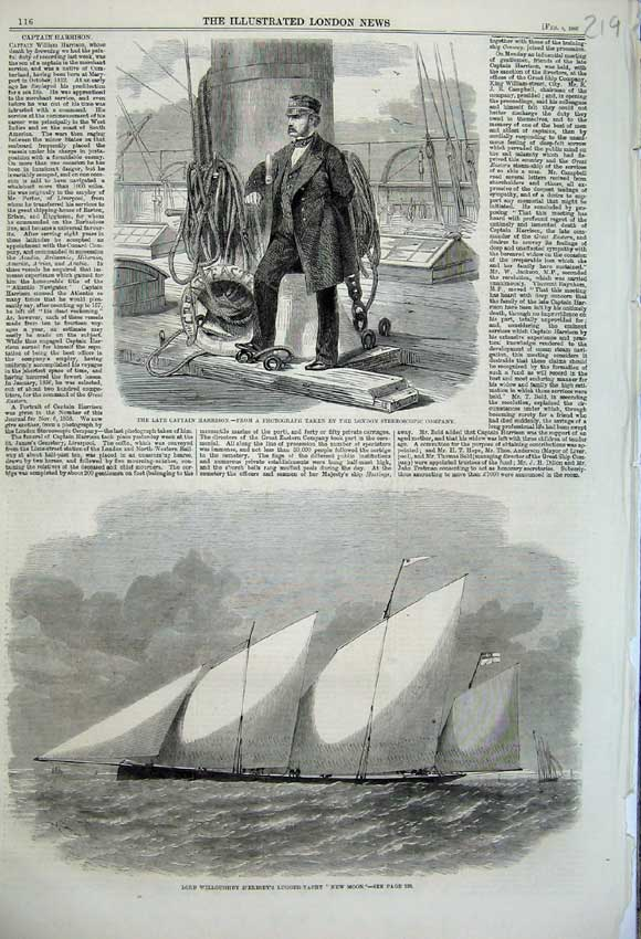 Print 1860 Captain Harrison Lord Willoughby New Moon Yacht 219N109 Old Original