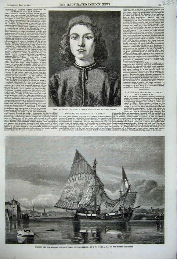 Print 1860 Bagozzo Arsenal Venice Murano Ship Masaccio Art 225N109 Old Original