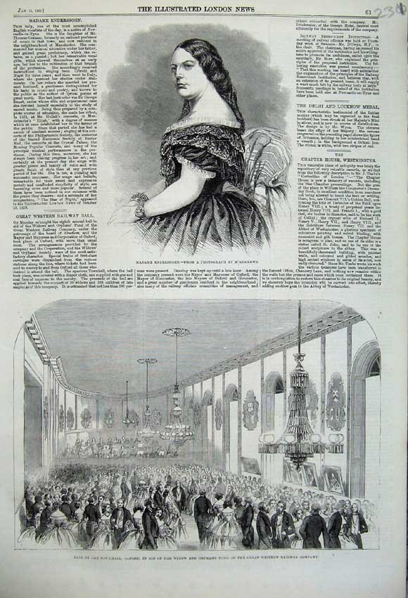 Print 1860 Madame Enderssohn Ball Townhall Oxford Railway 231N109 Old Original