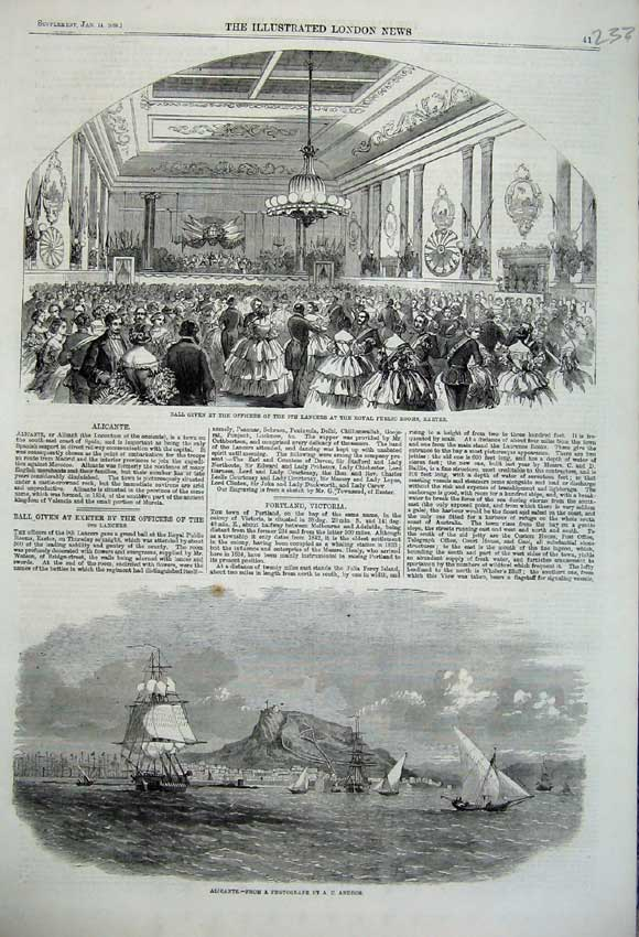 Print 1860 Alicante Ships Ball Lancers Exeter Officers Army 233N109 Old Original