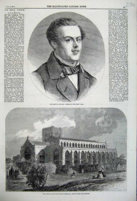 Print Wright Comedian 1860 Abbey Church Bury Edmunds Gardens 234N109 Old Original