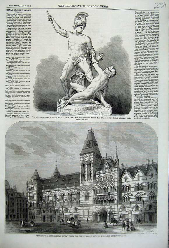 Print 1860Architecture Design Hotel Sculpture Lycoan Achilles 239N109 Old Original