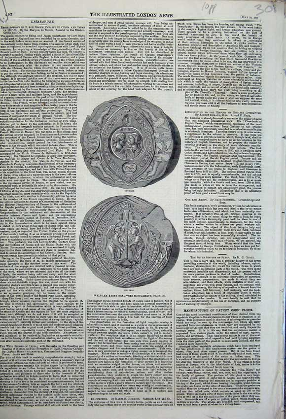 Print 1860 Richard Wagner Seal England France College Selby 301N109 Old Original