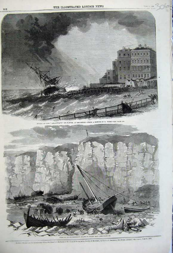 Print 1860 Ship Wreck Atl Brighton Fishermen Filey Bay 306N109 Old Original