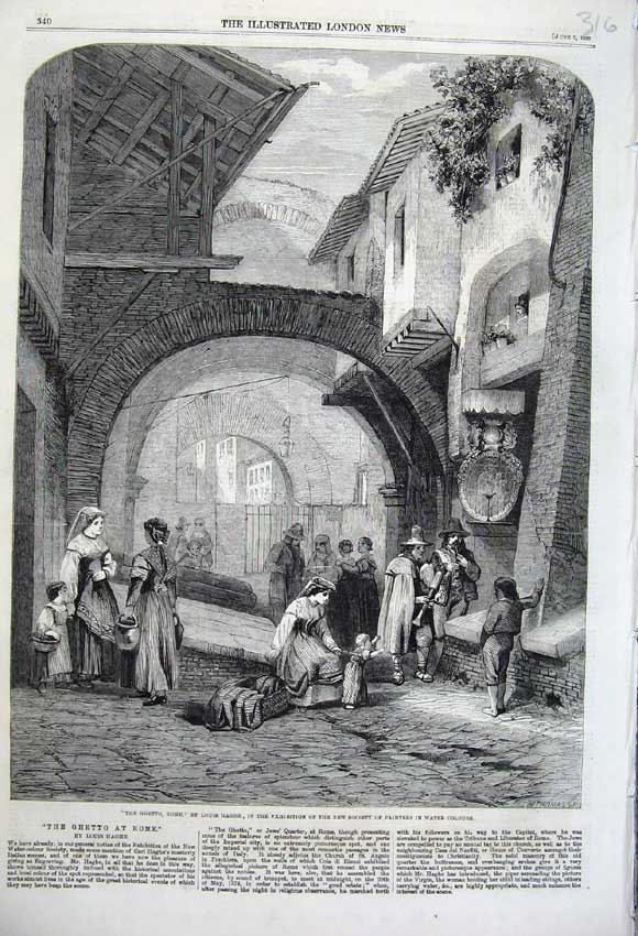Print 1860 Ghetto Rome People Street Archway Louis Haghe 316N109 Old Original