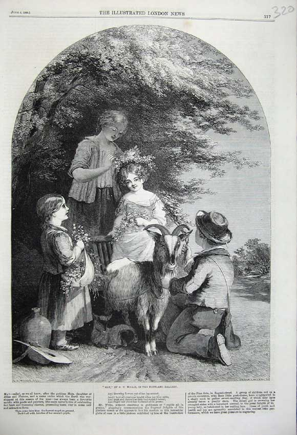 Print 1860 May Children Flowers Trees Goat Herder Country 320N109 Old Original
