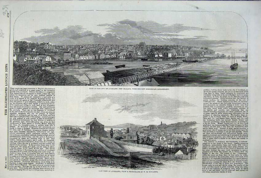 Print 1860 City Auckland New Zealand Commercial Embankment 331N109 Old Original